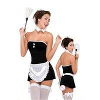 Precio al por mayor Amor French Maid Siervo Outfit Vestuario Para Mujer Negro y Blanco Sin Tirantes de Ama de Llaves de Disfraces Cosplay Uniforme