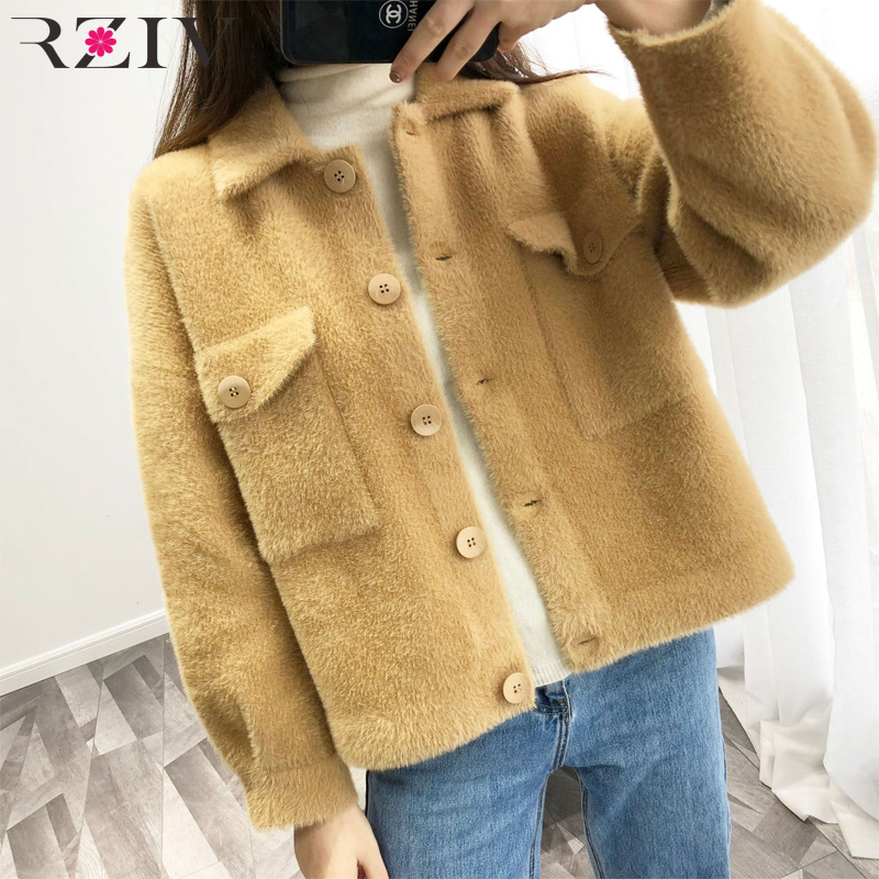 RZIV 2019 spring jacket women coat casual jacket lapel long sleeved solid color pocket decoration plush jacket-in Jackets from Women's Clothing    2