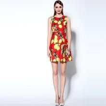 Женское короткое летнее платье без рукавов, с высокой талией и принтом ломона