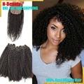 Malaysian Virgin Afro rizado 4b / 4c rizado armadura del pelo humano con cierre Afro rizado paquetes de pelo con la seda cierre de bases envío gratis