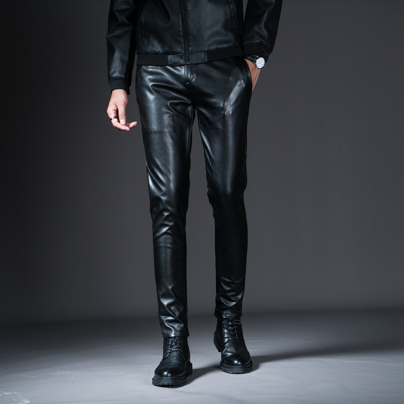 Dropwow New Winter Mens Skinny Biker Leather Pants Fashion Faux