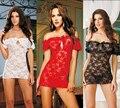 Lencería Sexy ropa de Dormir de Encaje Sexy tentación Apretado perspectiva pijamas ropa interior con los pantalones de T Mujeres Lencería Erótica Vestido