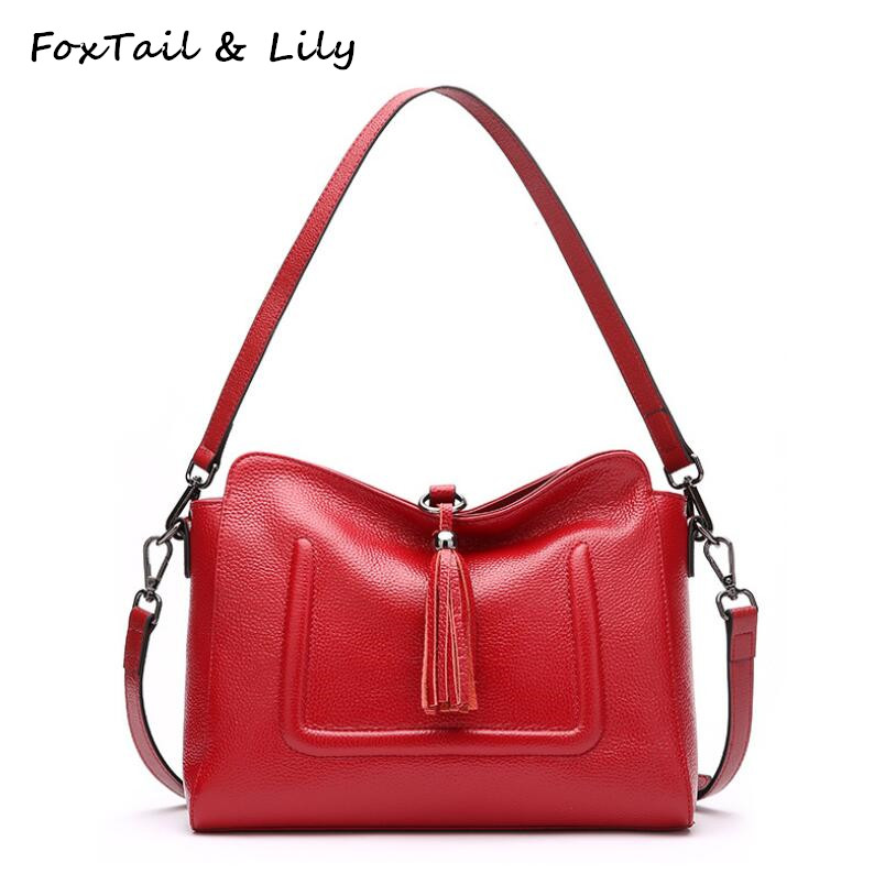 FoxTail & Lily Temperament Tassel Genuine Leather Shoulder Messenger Bag Women Elegant Handbags Luxury Designer Crossbody Bags foxtail