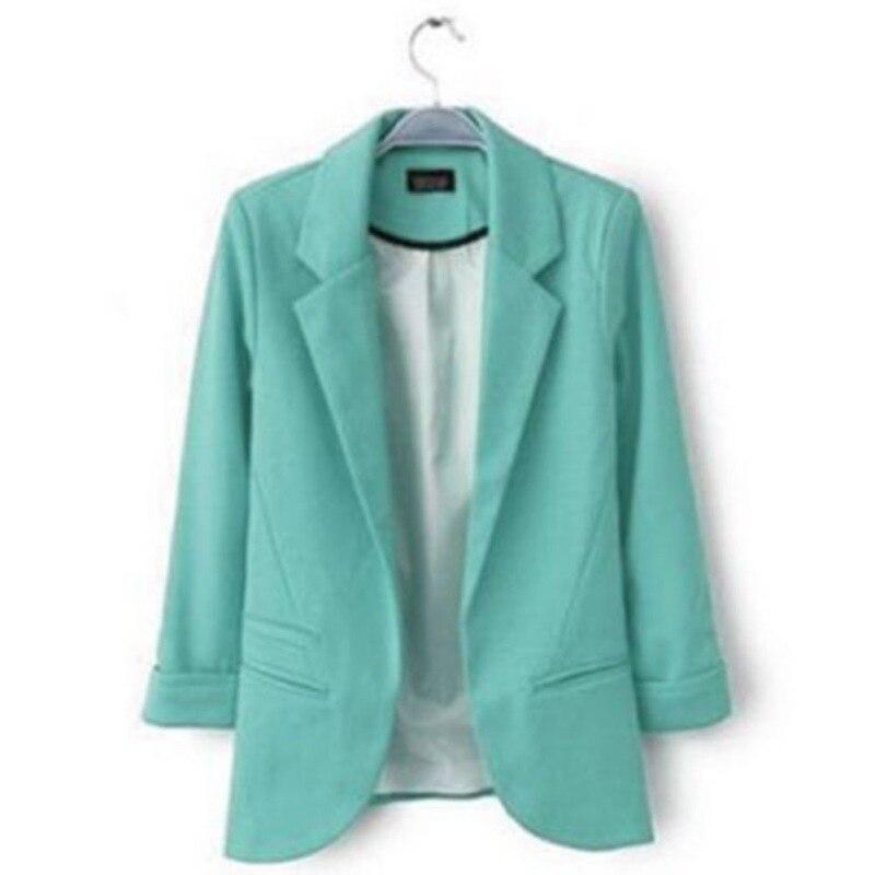 Новый женский свободного покроя тонкий блейзер костюмы пальто 3/4 рукав пиджаки бизнес блейзер