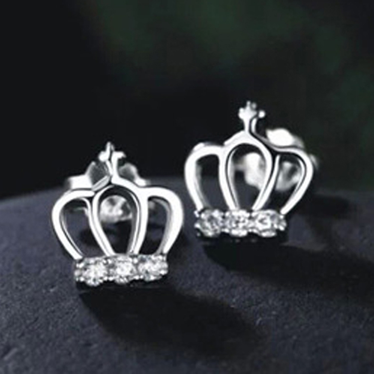 New Arrival Clic 1 Pair Princess Crown Shaped Silver Plated Earrings Jewelry Ear 0458 In Stud From Accessories On Aliexpress