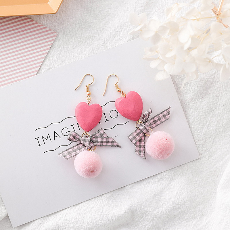 Korean Creative Plaid Cloth Bowknot Earrings for Women Wood Heart Drops Velvet Ball Dangle Earrings Fashion Jewelry 2018 MJ372