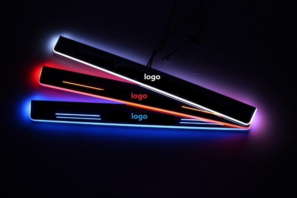 цена на eOsuns LED moving door scuff door sill light for audi A3/S3 A5 A1A4A5/S5/RS5 A6L C7 A7/S7/RS7 Q5 Q3 Q7, 4 pcs for front and back