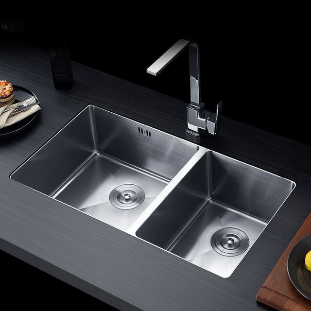 Handmade Kitchen Sink 830x450x220mm 304 Stainless Steel Brushed Seamless  Welding Wire Drawing Sink Double Bowl Free