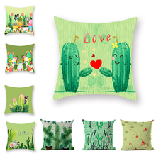 Summer Fresh Green Fluffy throw Pillow case pink Avocado Pop Color Cactus Cushion Cover Small Courtyard Lounger Casual