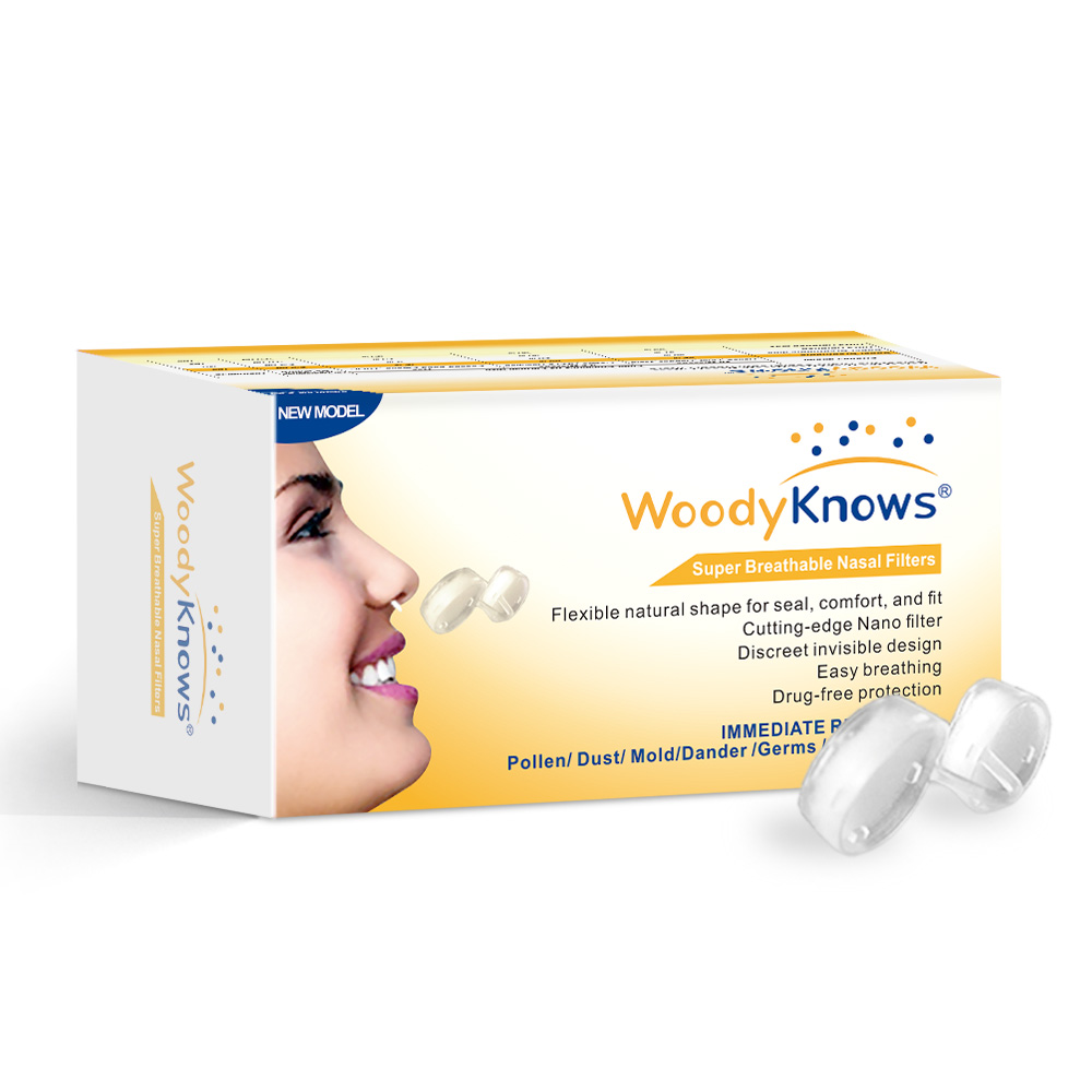 WoodyKnows Super Breathable nasal filter Invisible Sports Mask Anti Pollen Dust Allergies for outdoor Jogging airborne pollen allergy