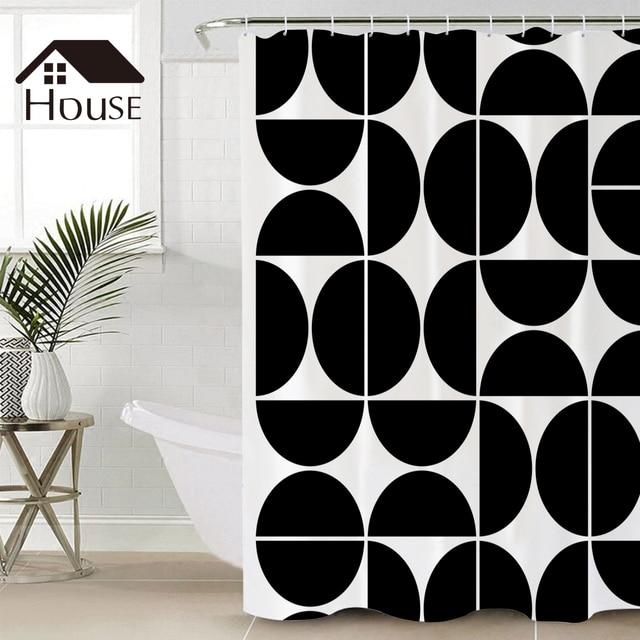 bighouses shower curtain mid century modern geometric 04 black fabric shower curtain hooks