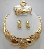 Top Exquisite Dubai Jewelry Set Luxury 18K Gold Plated Big Nigerian Wedding African Beads Jewelry Set