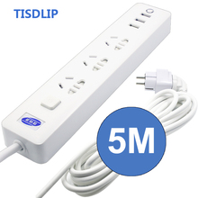 TISDLIP Socket Extension Socket Power Strip Surge Protector Network Filter Eu Plug 3 Ac/3 USB Power Plug Cable Socket 5m Cable