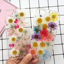 Real Dried Flowers Soft TPU Phone Case For iPhone X XR XS Max 6 6S 7 8 plus Silicone Cover Handmade Clear Pressed Coque New
