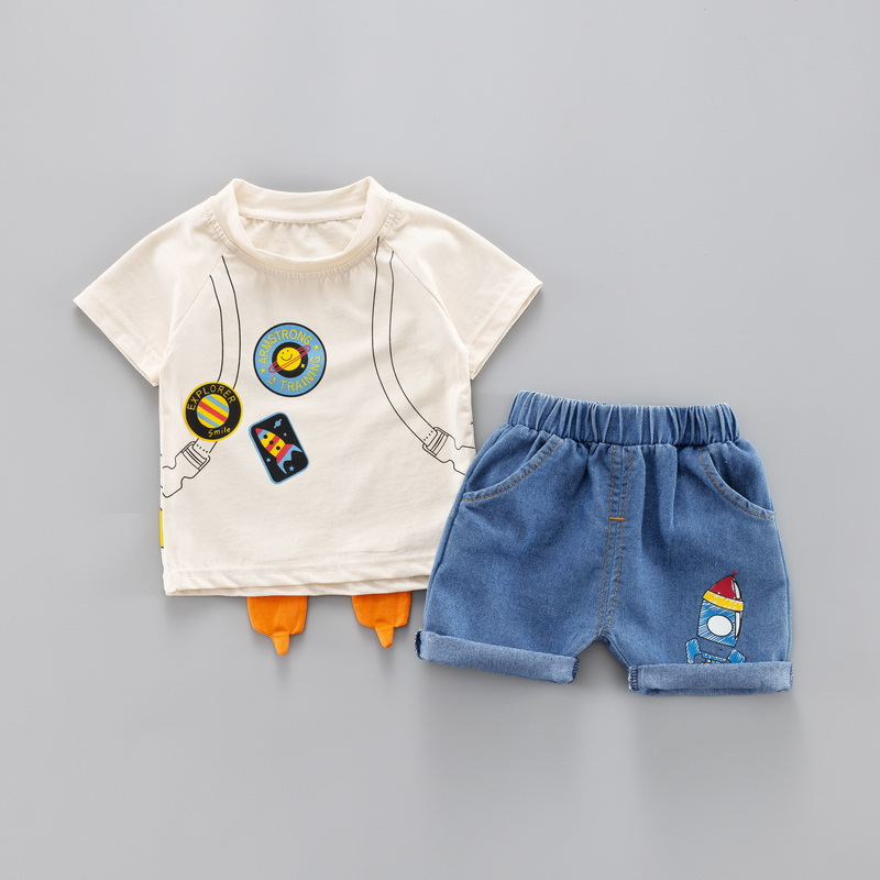 2 pcs set Baby Boys Casual Short Sleeve Cartoon Rocket Print Pattern Tops O neck Blouse T shirt Shorts Set Summer Outfits Sets in Clothing Sets from Mother Kids