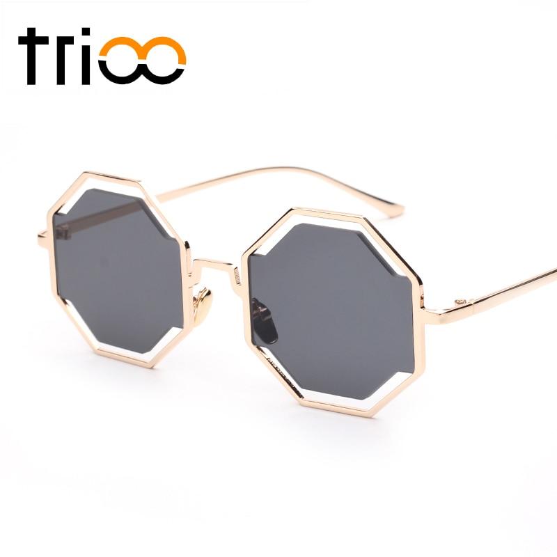 TRIOO Fashion Street Show Polygon Sunglasses Metal Gold Frame Puzzle Design lunette Super Cool Flat Round Pixel Glasses
