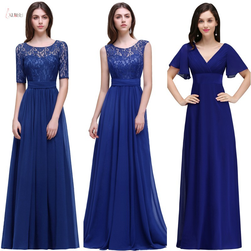 2019 Royal Blue Chiffon Long   Bridesmaid     Dresses   Sexy A line Applique Wedding Party Gown robe demoiselle d'honneur