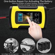 12V 6A Motorrad Auto Batterie Ladegerät Voll Intelligente Reparatur Blei Säure Lagerung Ladegerät Moto Intelligente LCD Display