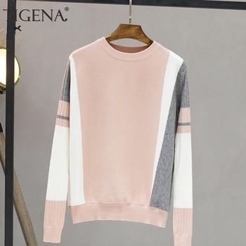 TIGENA Contrast Color Sweater