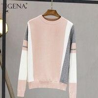 TIGENA 대비 색 풀오버 스웨터 여성 2020 가을 겨울 긴 소매 니트 점퍼 스웨터 여성 블랙 핑크 니트 의류
