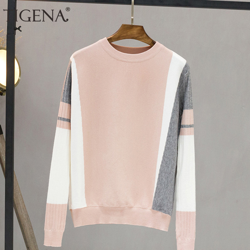 TIGENA Contrast Color Sweater Female 2019 Autumn Winter Pullover Sweater Women Long Sleeve Knitted Jumper Pull Femme Black Pink