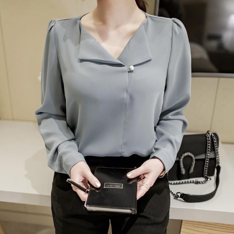 Pearl Button Turndown Collar 2017 Autumn V Neck Long Sleeve Pleated Women Shirt OL Office