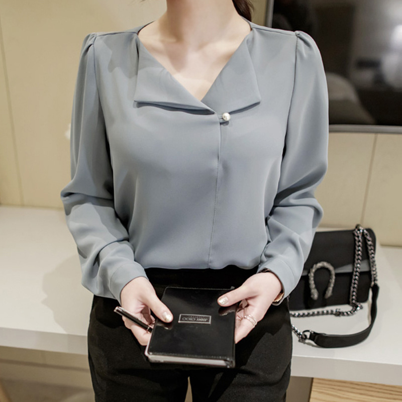 GUGULANG Pearl Button Turndown Collar 2017 Autumn V Neck Long Sleeve Pleated Women Shirt OL Office