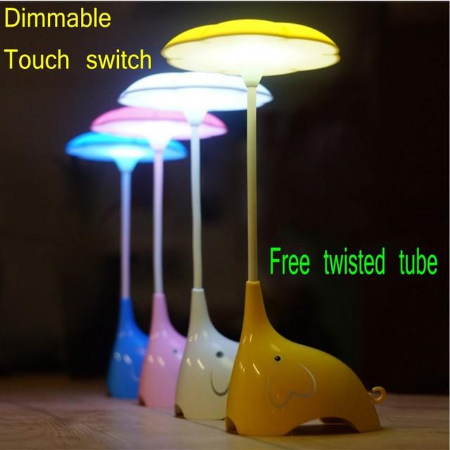 Regulable Touch Sensor LED Lámpara de Mesa Lámpara de Escritorio Recargable USB Bastante Lindo Elefante Regalo de Iluminación Lectura lámpara de Dormir