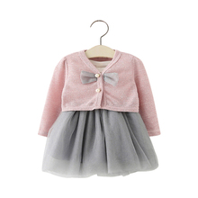 2017 Spring baby girls clothing set lace yarn dresses bowknot sweater 2 pcs set infant formal