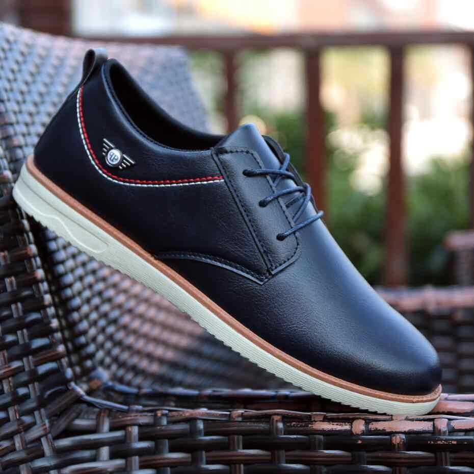 05aca7375 ... Luxury Brand 2018 Men wedding dress Shoes men formal Casual Leather  Fashion Trendy Black Blue Flat ...