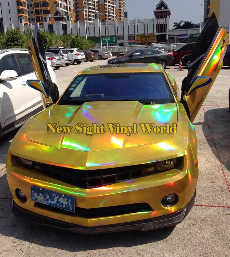 Best Quality 3 Layers Rainbow Gold Chrome Holographic Vinyl Wrapping Film Bubble Free For Car Wrapping Size:1.50*20M quality guarantee silver chrome vinyl film for car wrapping sticker with air bubble free 20m roll