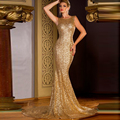 2017 Mermaid Sleeveless Cheap Gold Sequin Backless Pageant Prom Dresses vestidos de formatura robe de soiree Long Evening Dress