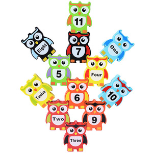 12Pcs Wooden balance toys for kids building block color digital Owl block Early Educational brick toys table game