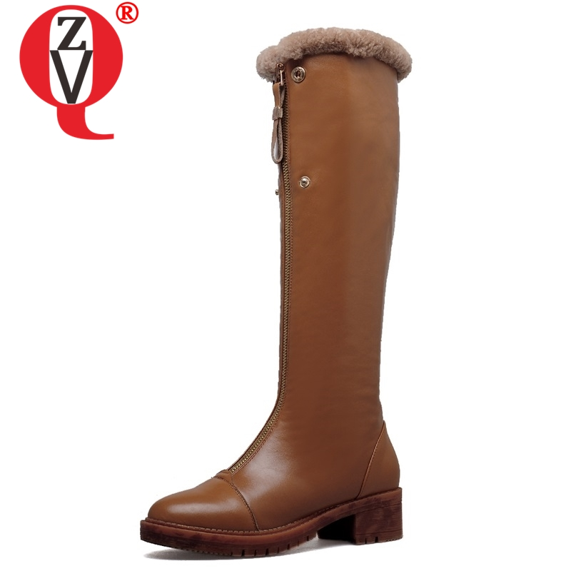ZVQ winter knee high boots woman mid heel round toe ladies warm shoes real fur genuine