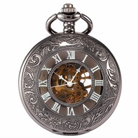 New Luxury Vintage Men S Hollow Skeleton Dial Hand Winding Mechiancal Movement Black Fob Pocket Watch