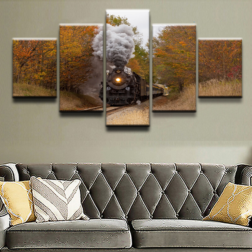 5 Panel Canvas Printed Fall Railways Train Poster Home Decor For Living Room Modular Picture Wall Art Painting Modern Artwork