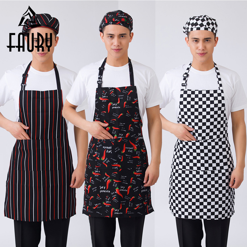 Unisex Striped Plaid Graphic Print Adjustable Halter Neck Home Kitchen Cooking Wear Aprons Restaurant BBQ Cafe Chef Work Aprons