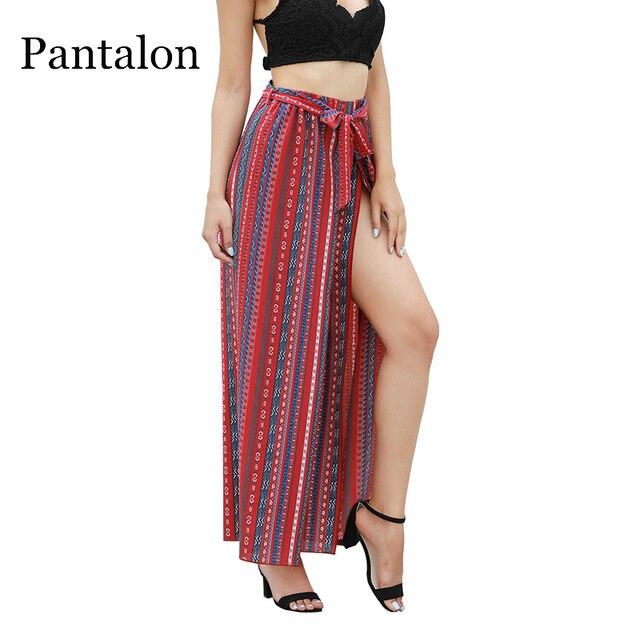 b8cff64a46 Pantalon High Split Stripe Wide Leg Pants Women Boho Ethnic High Waist Beach  Trousers Sash Capris