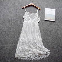 Women See Through Full Slip Dress Full lace Transparent Hollow-out single layer bottoming underskirt Korean long petticoat woman