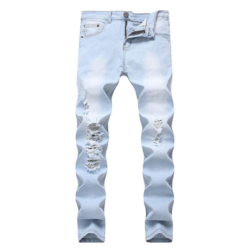 New Fashion Men Jeans Light Blue Hole Skinny Jeans Hip Hop Long Trousers Pants Summer Autumn Streetwear Size 28-40