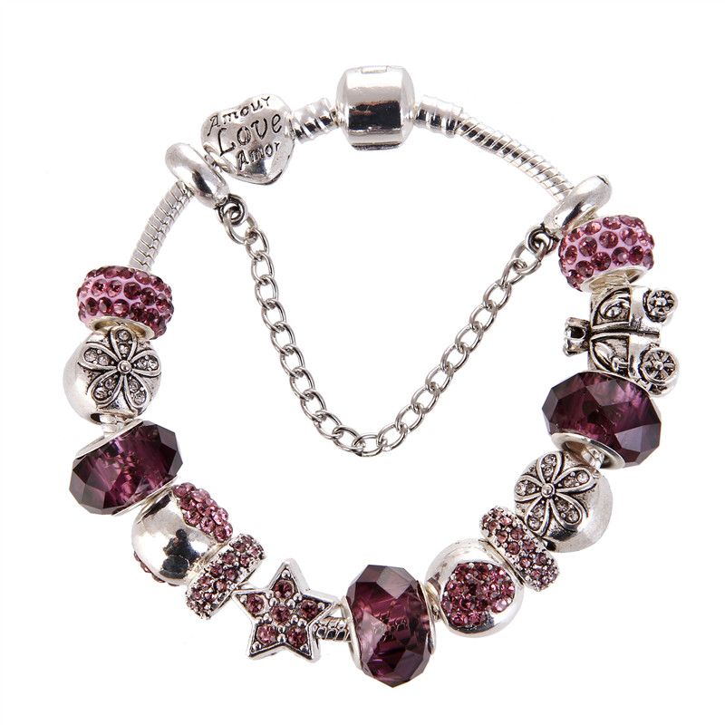 High Quality Purple crystal Rhinestone Bead Charms Noble Pretty Pandora Bracelet For Women/Gril gift jewelry Drop Shipping