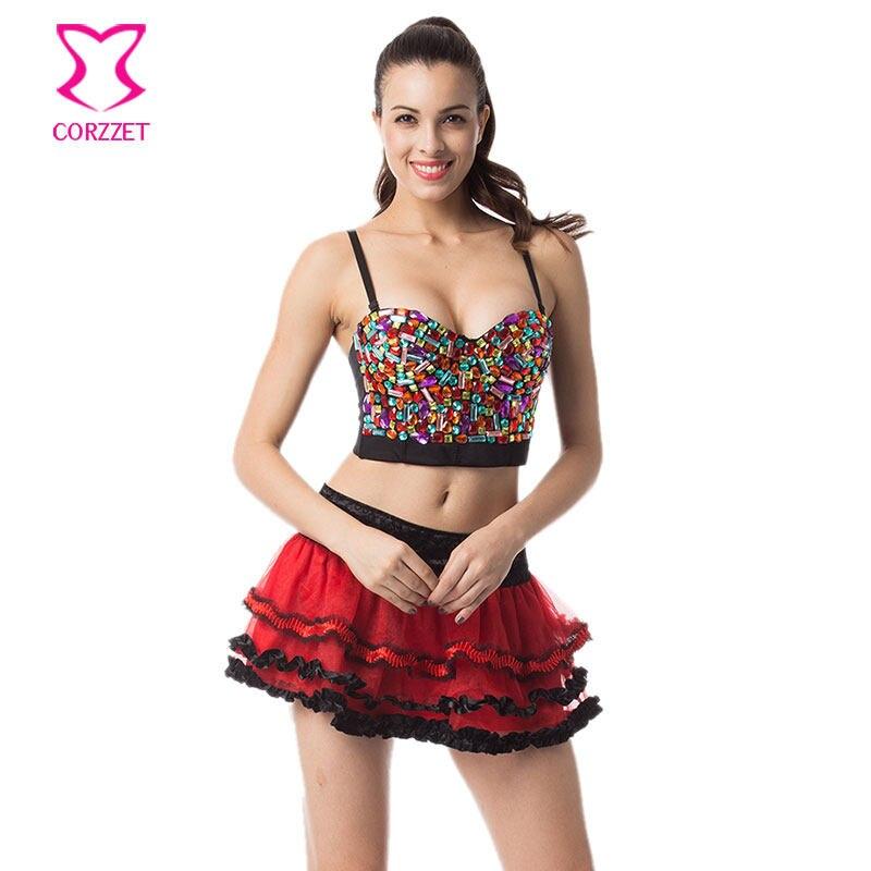 539fbee5d3 Rainbow Resin Gems Studded Bralette Push Up Bra Big Size Bras for Women  Rave Belly Dance