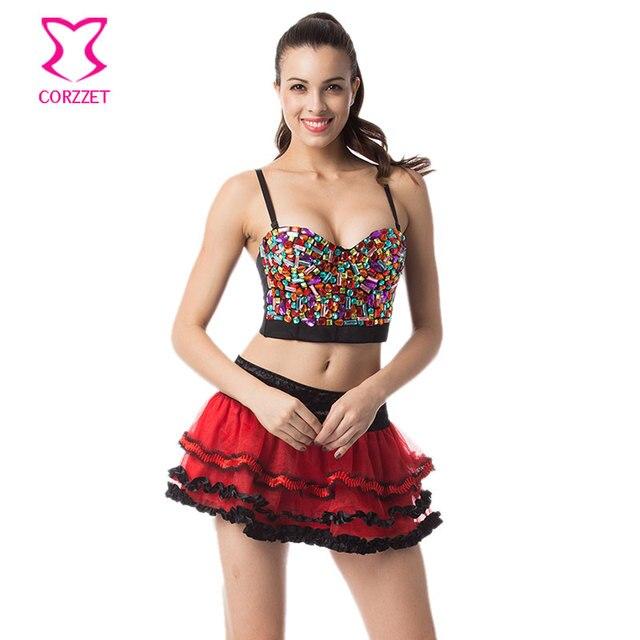 Rainbow Resin Gems Studded Bralette Push Up Bra Big Size Bras for Women Rave  Belly Dance 9654e1ee2