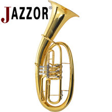 JAZZOR JYBT-E110 baritone horn B flat gold lacquer baritone brass wind instrument with mouthpiece & baritone case