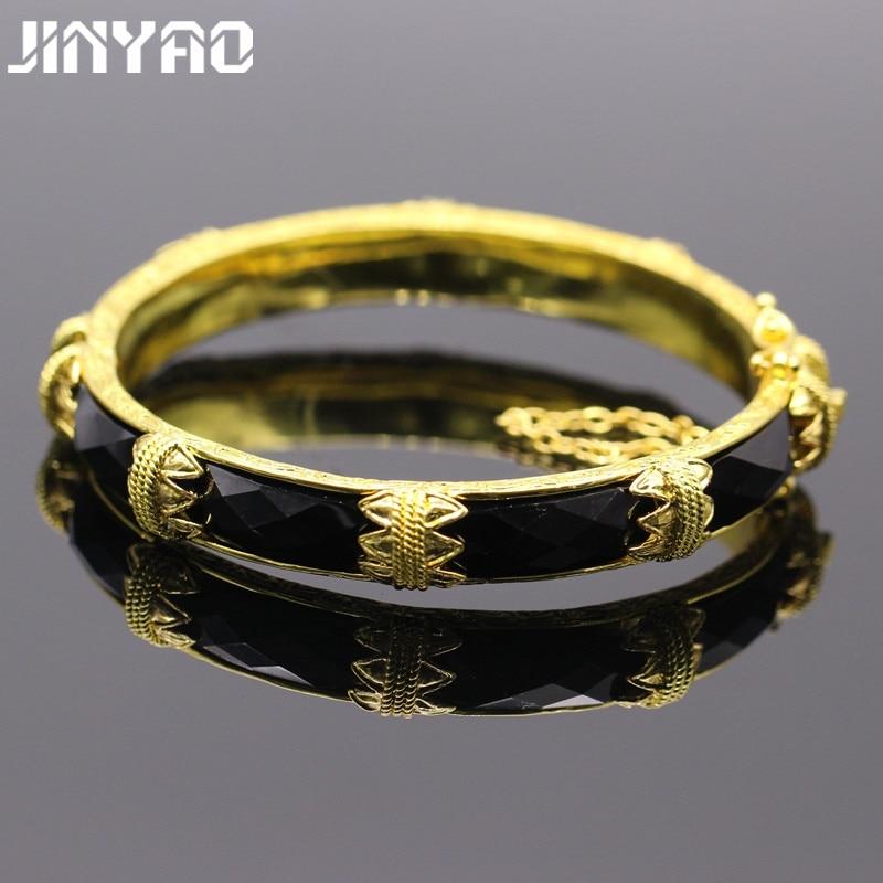 JINYAO nádherné čisté zlato barva černá AAA zircon náramek - Bižuterie