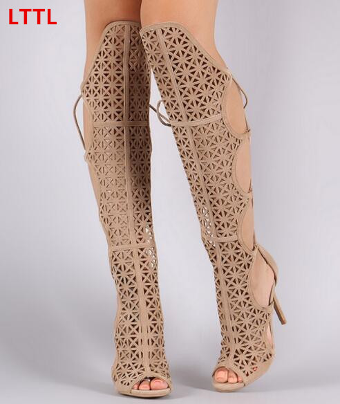 2017 Summer hollow out gladiator sandals cross-tied lace up high heels summer sandal boots black/nude peep toe knee high boots