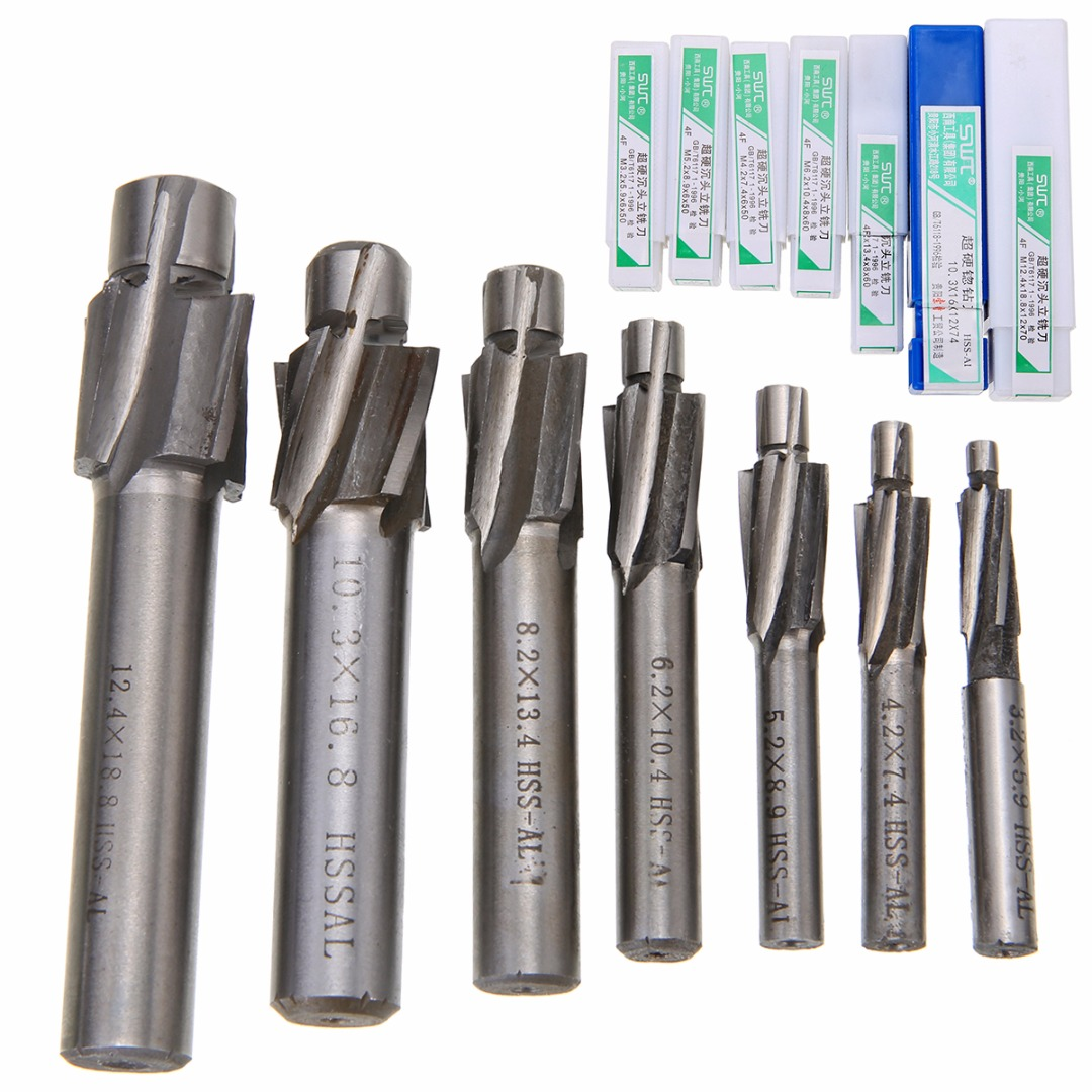 7pcs M3 2 M12 4 Counterbore Milling Cutter High Speed Steel Pilot Slotting Tool End Mill