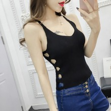 Women Casual Cropped Top Ladies Sexy V-Neck Pullover Knitted Hollow Out Sleeveless Cross Strap T-shirt Slim Tank H