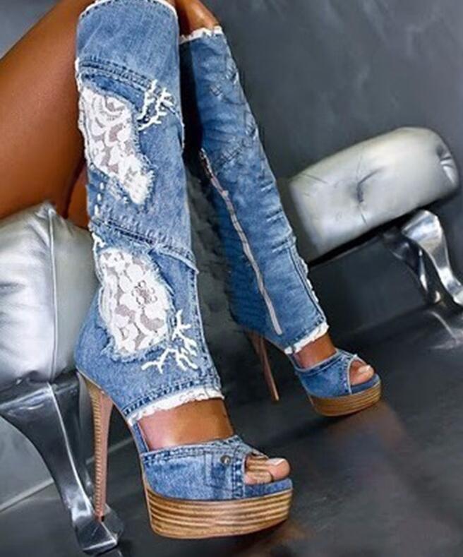 La Largo Mujer Venta Color Peep As Encima Color De Toe Alto as Por Mujer Showed Botas Rodilla Platfome Tacón Caliente 668qrO