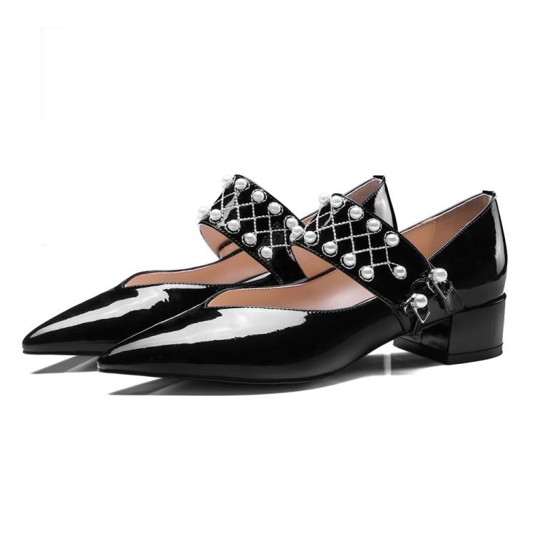Moda Zapatos Mujer Baja Tacones 2018 Bombas Damas Del Cuero Dedo Nueva La Pie Puntiagudo Mary De Beige negro {zorssar} Janes nYxE0gOO